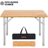 KingCamp アウトドア テーブル 100x65cm 65x50cm 無段階高さ調節 4折 キャンプ 折りたたみ ローテーブル コンパクト バーベキュー 竹製 収納袋付き