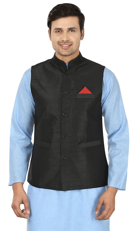Maple Clothing Men's Traditional Indian Nehru Jacket Silk Sleeve Less Waistcoat (Black, XL)