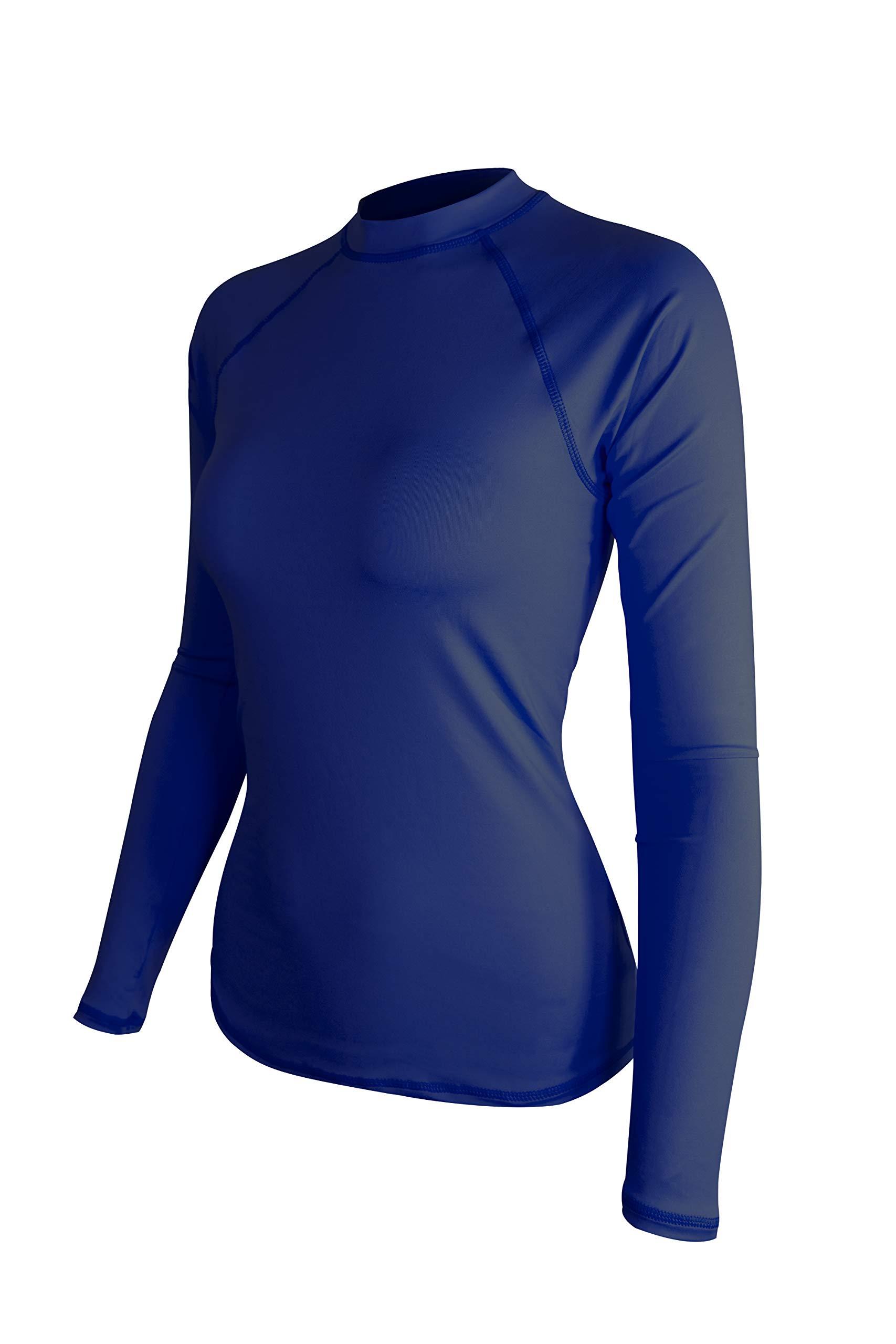 ALLEZ Women's Long Sleeve Rash Guard Athletic Tops Swimwear UPF 50+ Sun Protection Swim Shirts (Navy, Large) by ALLEZ