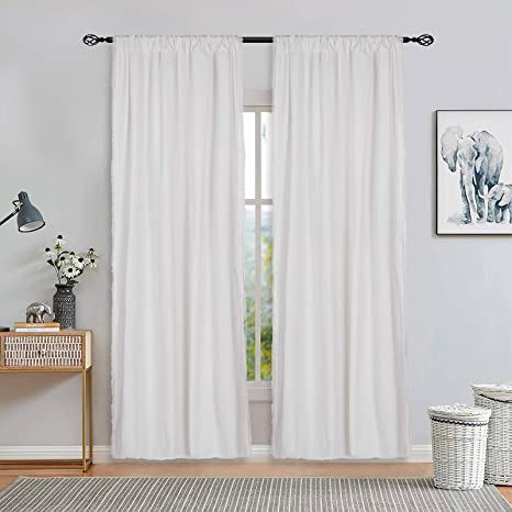 white solid color window curtains cotton blend rod pocket curtain panel farmhouse window drapes for living room bedroom decor 2 set panels 52 x 63