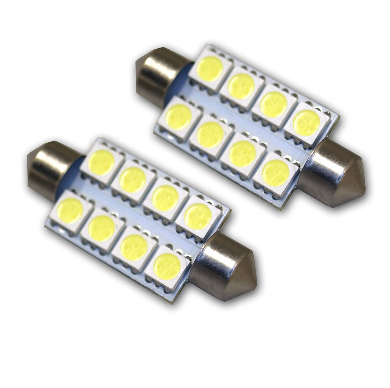 TuningPros LEDUHL-39M-WS8 Under Hood Light LED Light Bulbs Festoon 39mm, 8 SMD LED White 2-pc Set