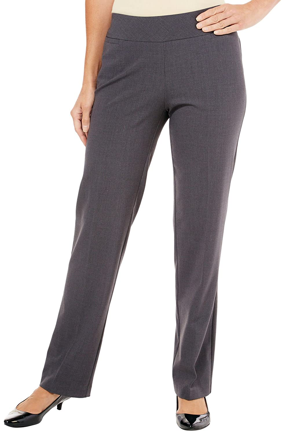 Counterparts Petite Solid Pull-On Pants 12P Charcoal