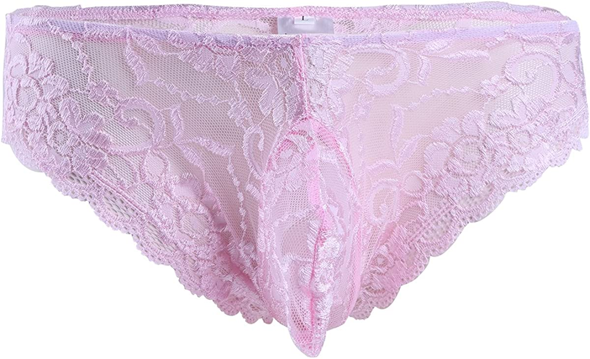 JEATHA Mens Lingerie Floral Lace Bikini Briefs French Maid Sissy Panties Underwear