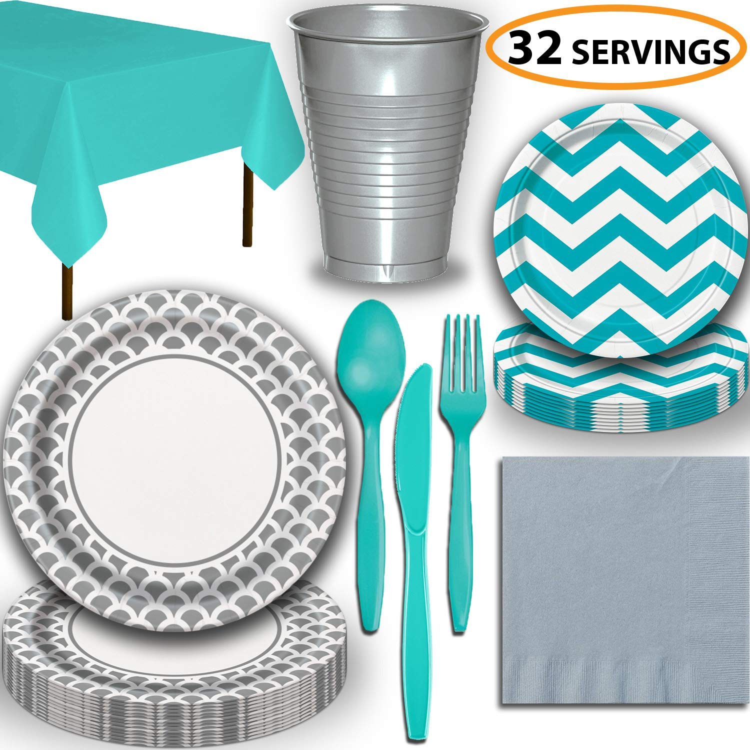 Disposable Tableware, 32 Sets - Silver and Caribbean Teal - Scallop Dinner Plates, Chevron Dessert Plates, Cups, Lunch Napkins, Cutlery, and Tablecloths: Premium Quality Party Supplies Set by HeroFiber (Image #1)