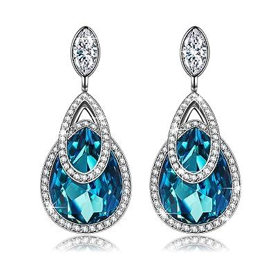92525294a J.NINA Dangle Drop Stud Earrings for Mothers Day Women Swarovski Blue  Aquamarine Crystal Jewelry