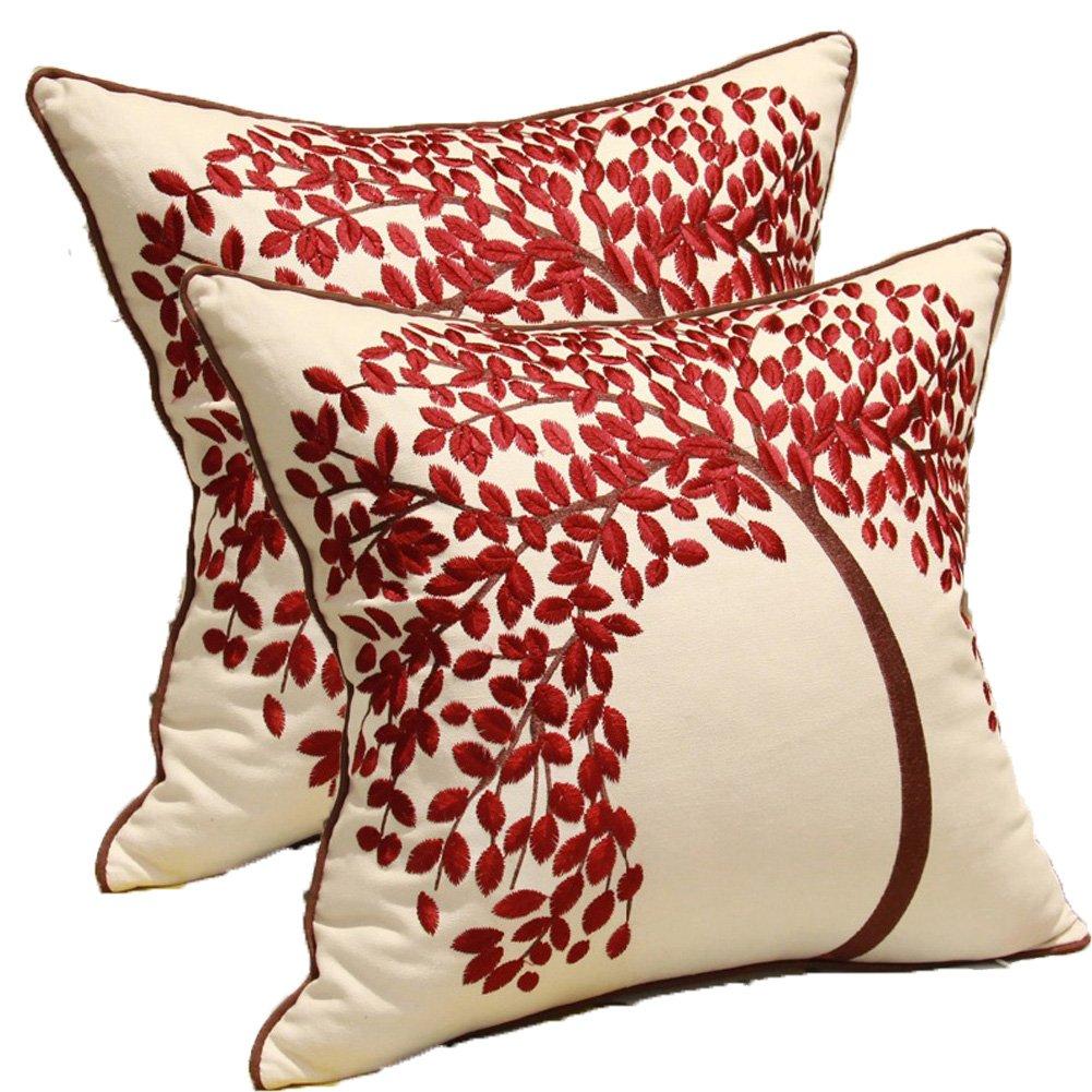 Federa decorativa per cuscino /L/'albero della vita 45 x 45 Centimeters ricamata in cotone e lino Cotone//cotone misto//lino Lt-red-2pc 45/x 45/cm/ ZUODU rosso con cornice