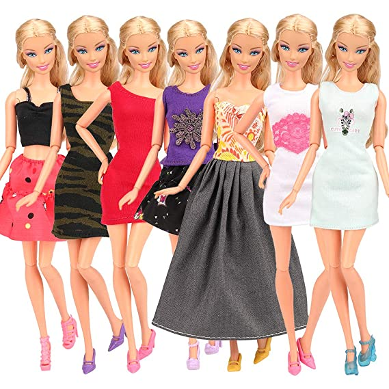 Babypuppen & Zubehör Barbie kompatibel Kleider Kleidung Kleid Klamotten Neu für Barbie Puppen Fashion