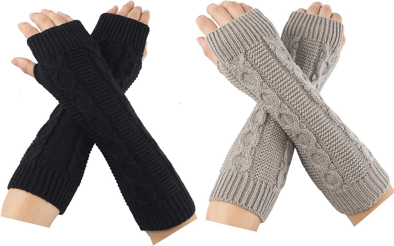 N//D 2 Paar Armstulpen,Pulsw/ärmer mit Daumenloch Fingerlose Handschuhe Twist Stulpen Thermal Winter Warmer Armstulpen