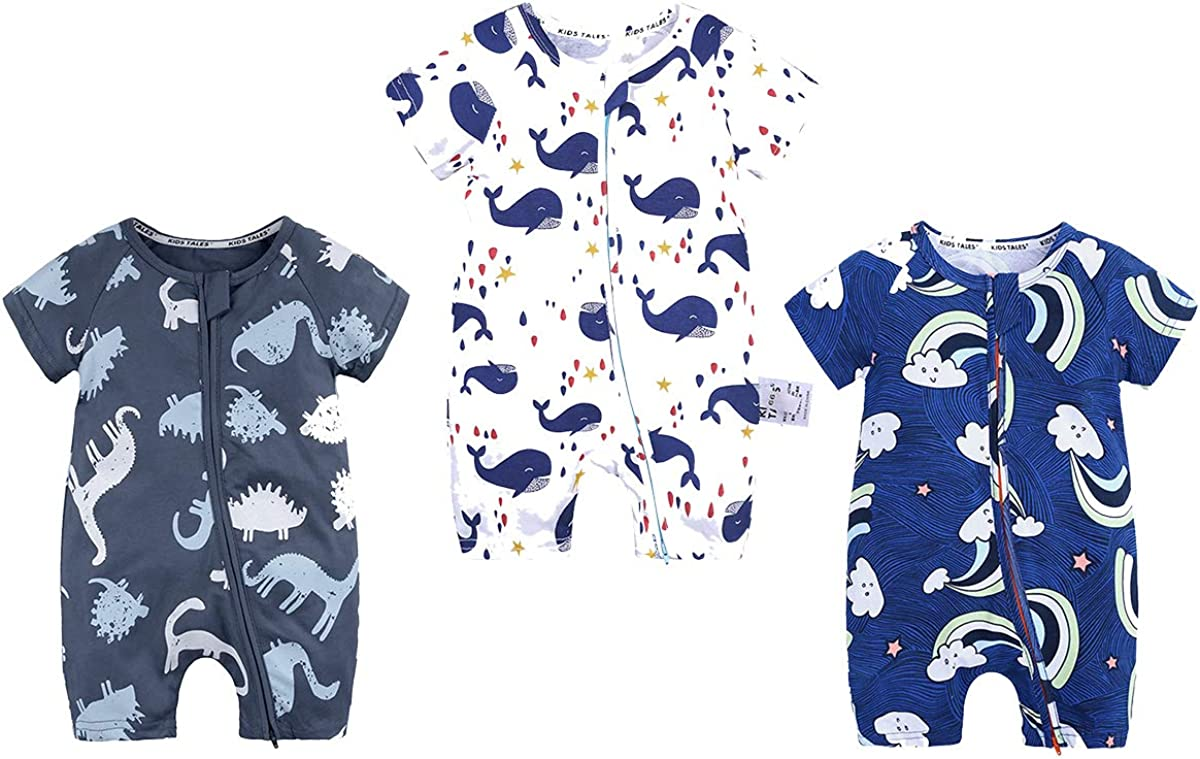 WINZIK Toddler Baby Boy Girl Zipper Pajamas Short Sleeve Cotton One-Piece Bodysuit Romper Summer Outfit Clothes for 3M-3Y