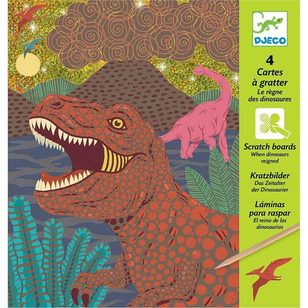 DJECO - Kit de 4 Cartes à gratter : 'Le règne des Dinosaures' - 21, 5 x 23 cm