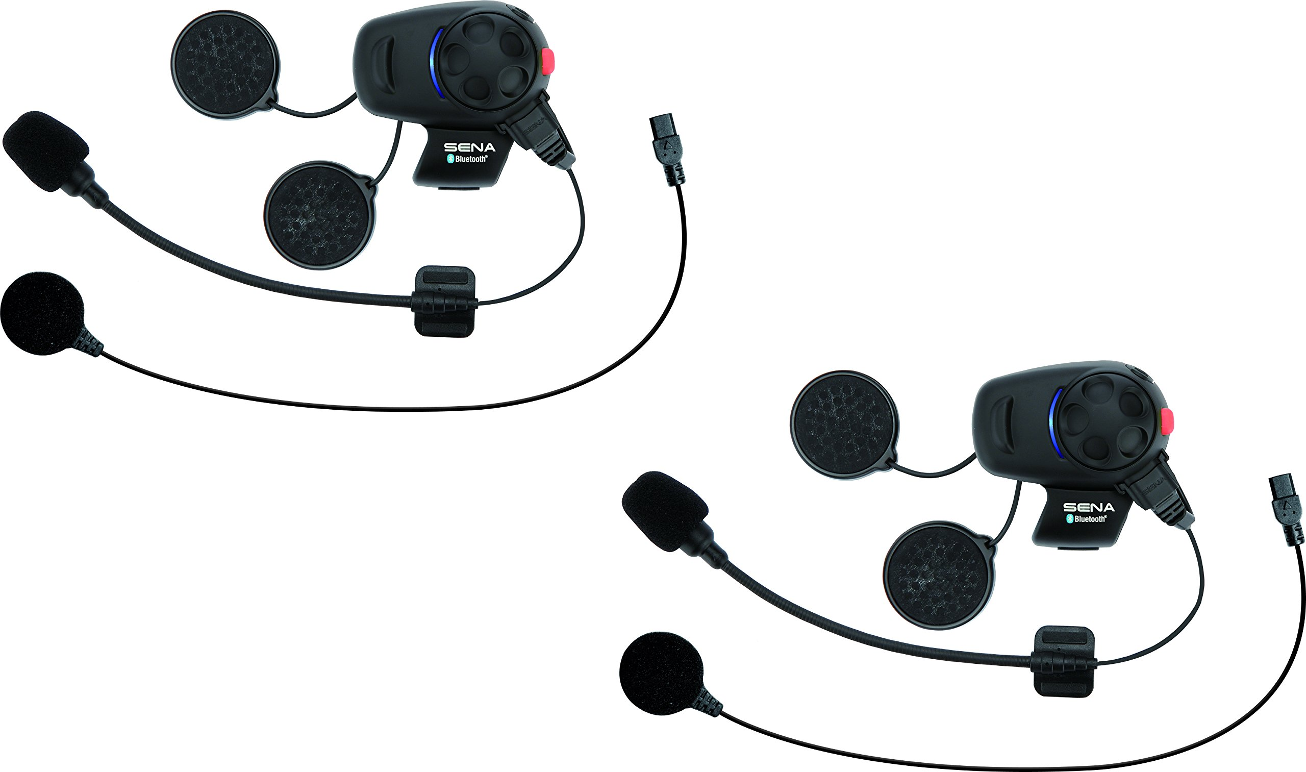 Sena Bluetooth Headset and Intercom for Scooters/Motorcycles with Universal Microphone Kit (Dual Pack)