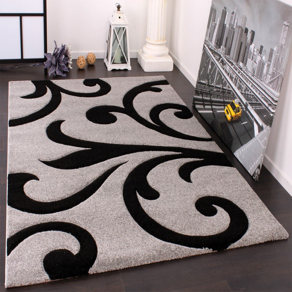 PHC Designer Teppich mit Konturenschnitt Modern Grau Schwarz, Grösse 200x290 cm