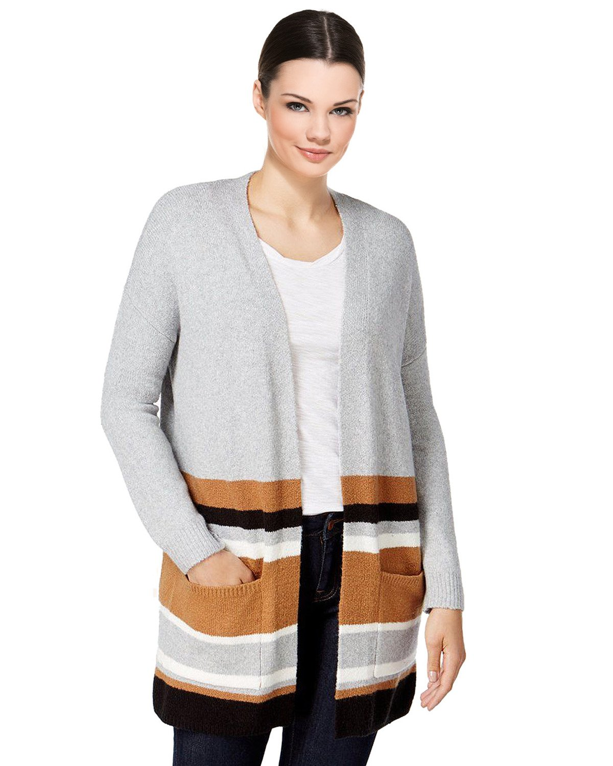 Style & Co. Striped Colorblocked Sweater Cardigan