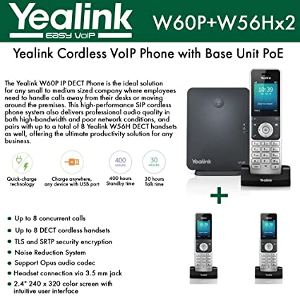 Amazon com : Yealink IP Phone W60P is a bundle of W60B base and W56H