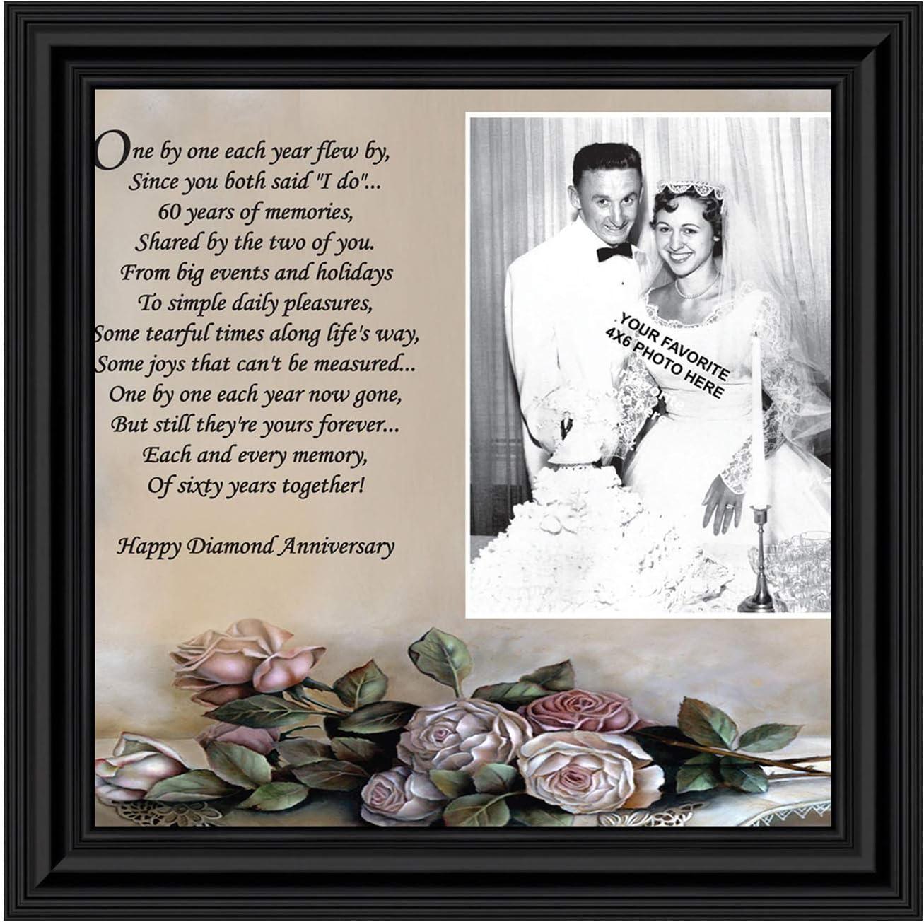 Amazon Com Crossroads Home Decor 60th Diamond 60th Wedding Anniversary Grandparents Gifts For Grandparents 60th Anniversary Card For Parents Picture Frame For Couples 6782b