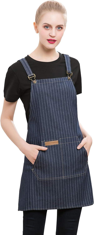 Denim Cross-Back Chef Bib Apron with Pockets for Men and Women (Blue Stripe)