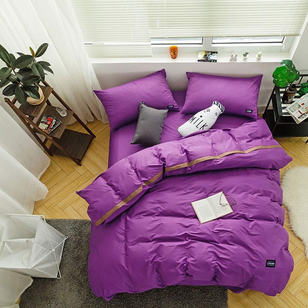 綿の無地の4部分の掛け布団カバーは二重ホテルの寝具を広げます (色 : L l, サイズ さいず : 2.0m (6.6ft)bed) B07QKZ6Q9D A 2.0m (6.6ft)bed 2.0m (6.6ft)bed|A