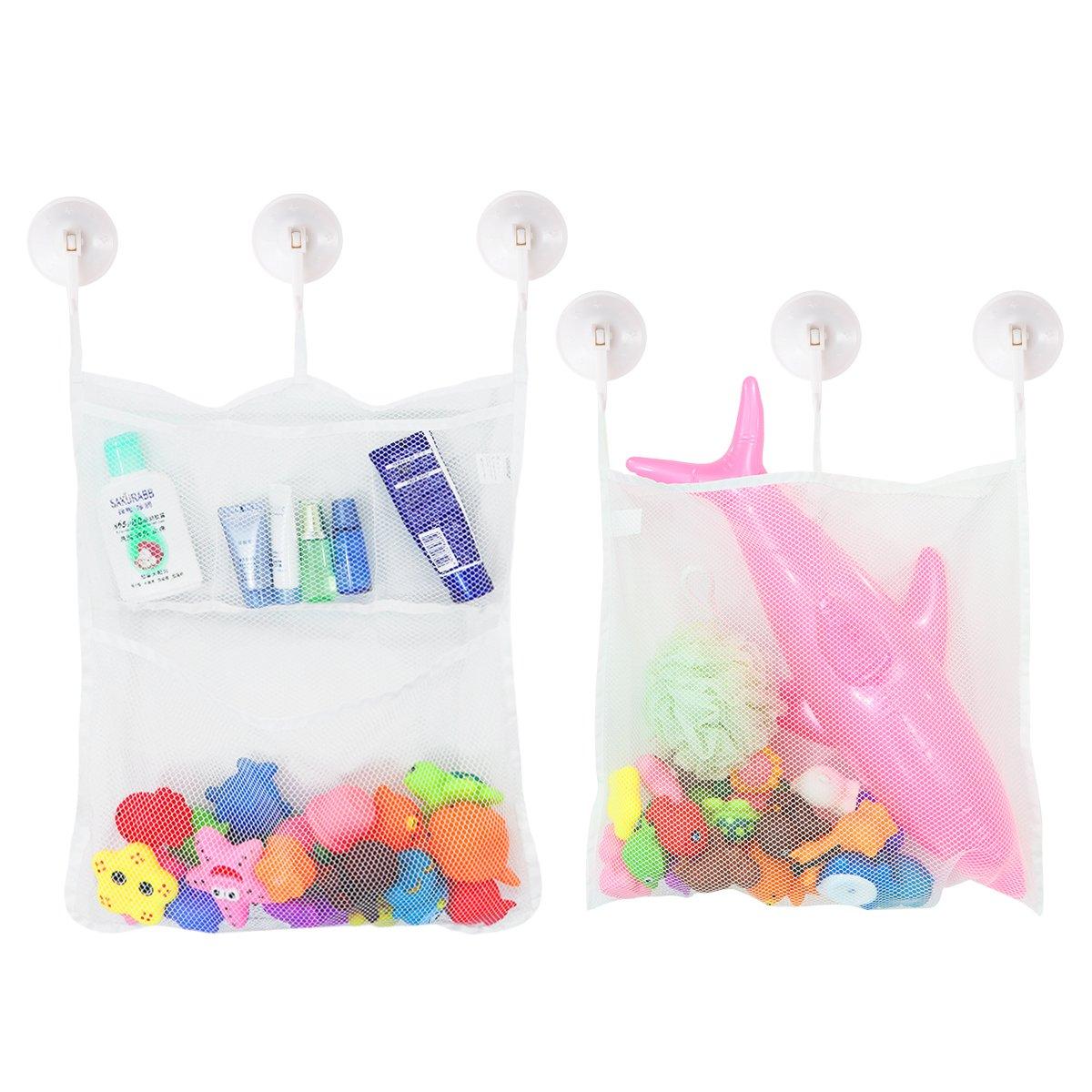 TOYMYTOY organizador de juguetes bolsa de almacenamiento, Red de malla con 6 ganchos para cuarto de baño y bañera -2 Pieza