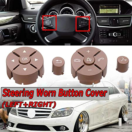 Worn Button Cover For Mercedes W204 W212 C200 Brown Steering Wheel