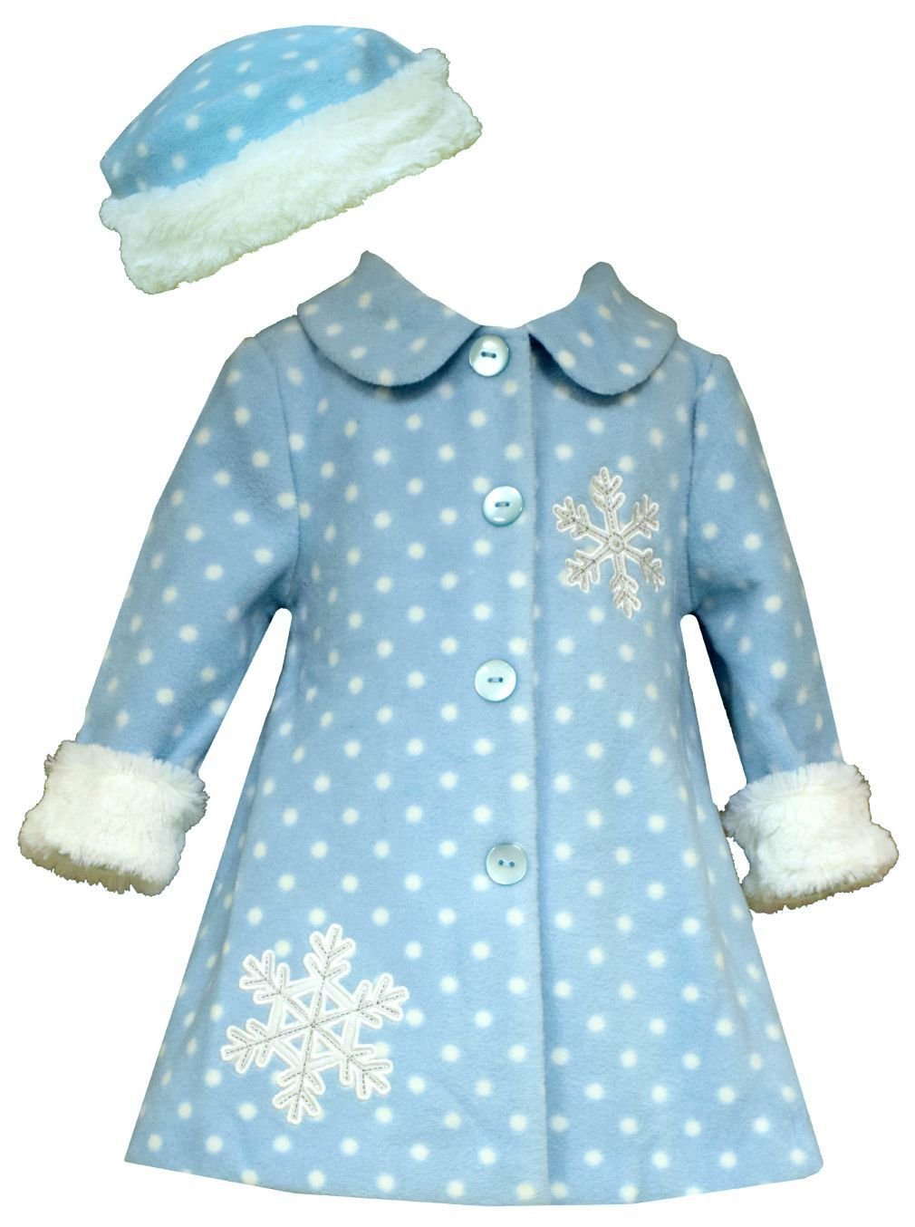 Bonnie Jean Girls Frosty Aqua Snowflake Faux Fur Coat & Hat, Aqua, 4T