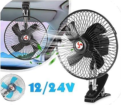 10/'/' 12V Car Van Clip On Oscillating Fan Summer Cooler 2 Speed Air