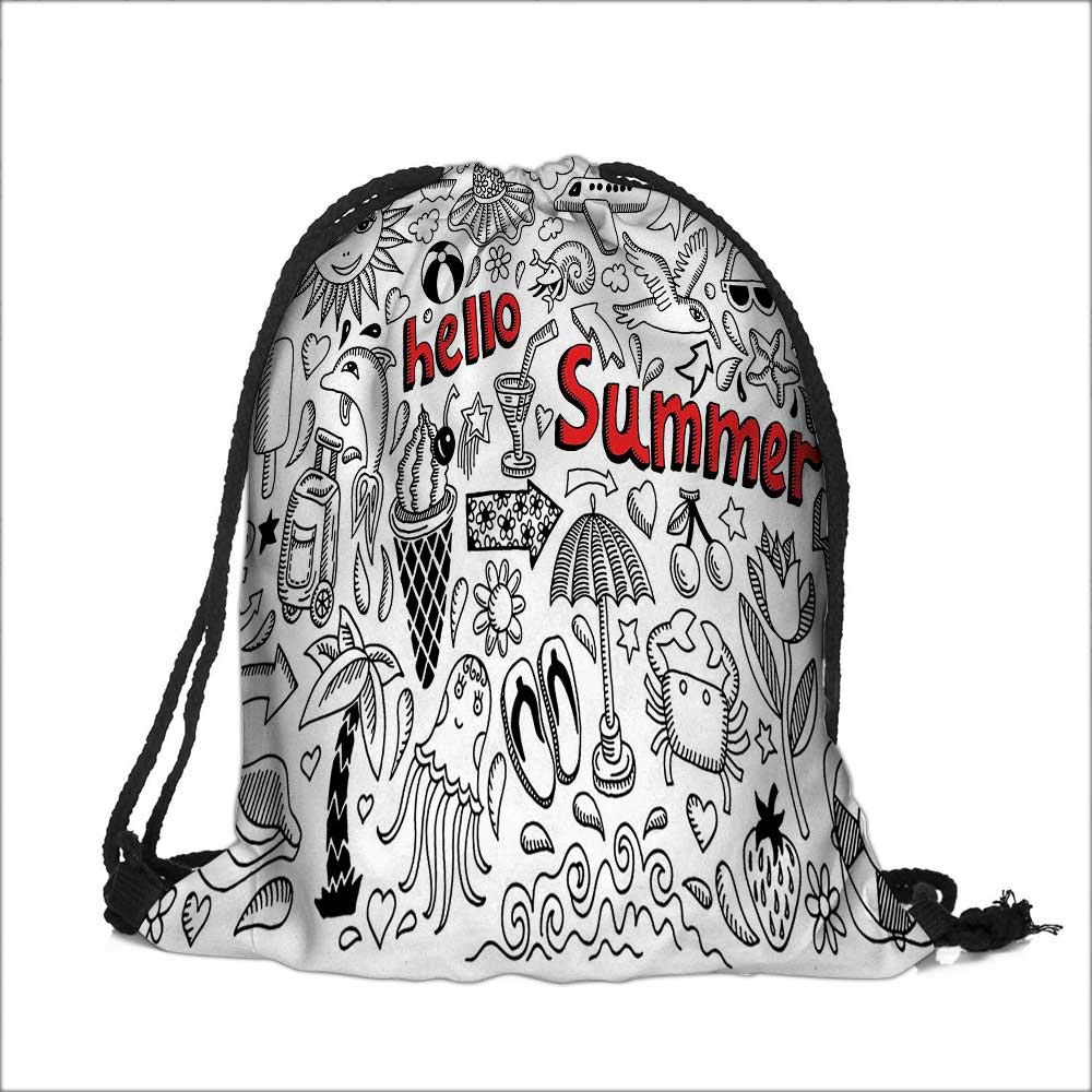 0ec4501e3e9 Drawstring Polyester Pocket Collection Hello Summer Text with Background  Collection of Airplane Anchor Beach Dolphin Sun Backpack Outdoor Rucksack  13