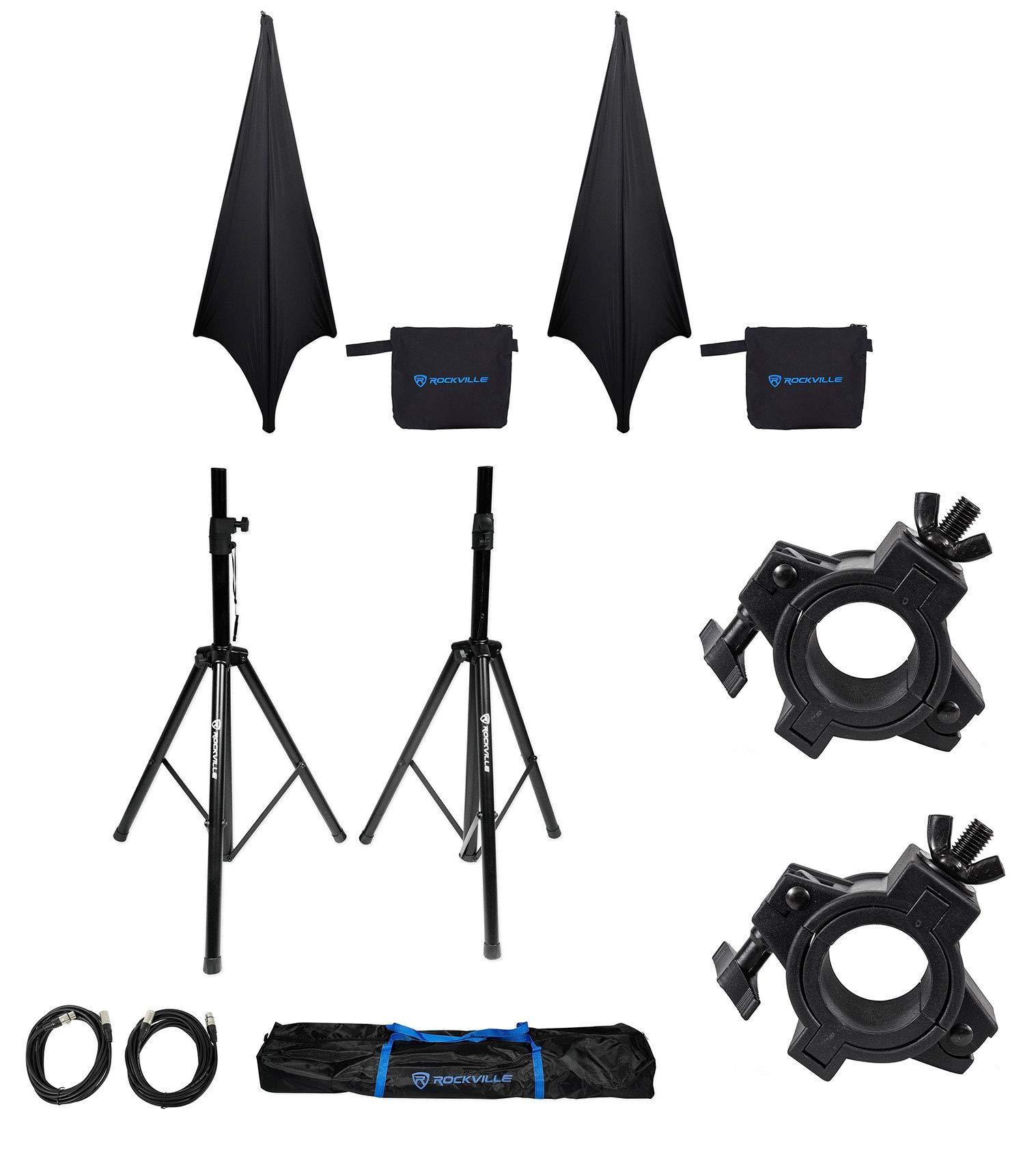 2) Rockville Tripod DJ Speaker Stands+Cables+Scrim Werks Black Covers+Carry Case