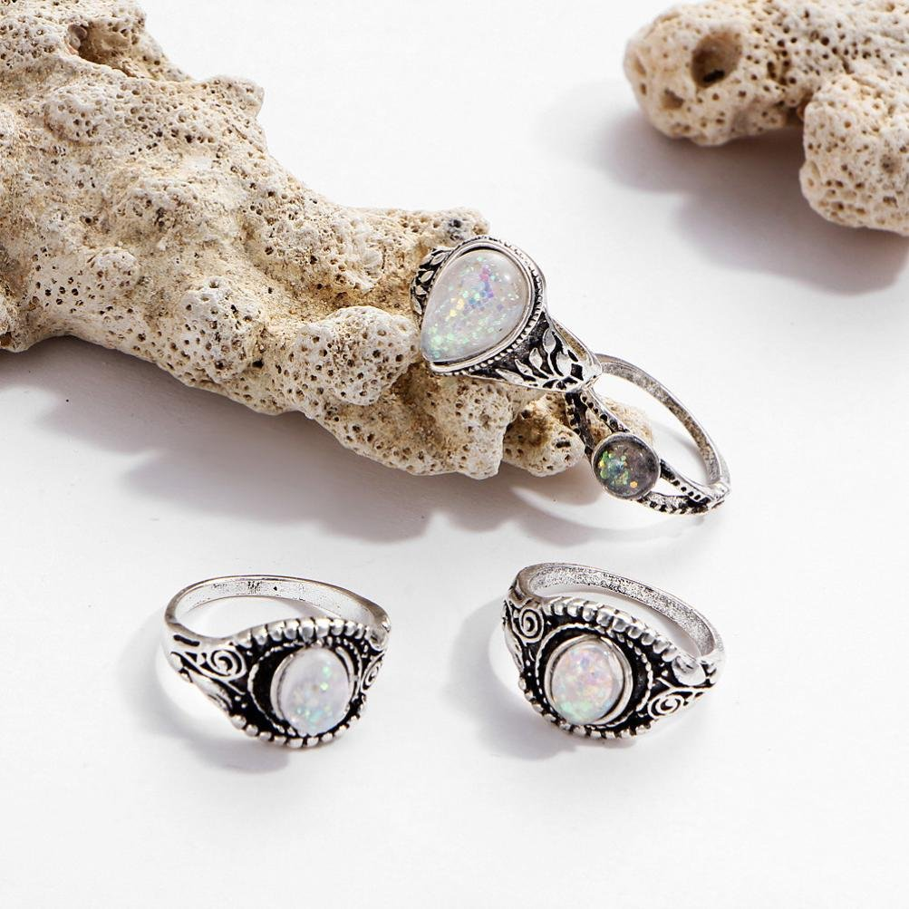 SMALLE◕‿◕ Clearance,8PC Boho Jewelry Silver Natural Gemstone Marquise Moonstone Personalized Ring by SMALLE◕‿◕ (Image #7)