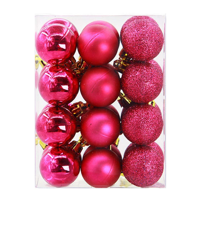Joopee 24Pcs Christmas Balls Hanging Ornaments Party Xmas Tree Decor Shatterproof Baubles(Hot Pink)