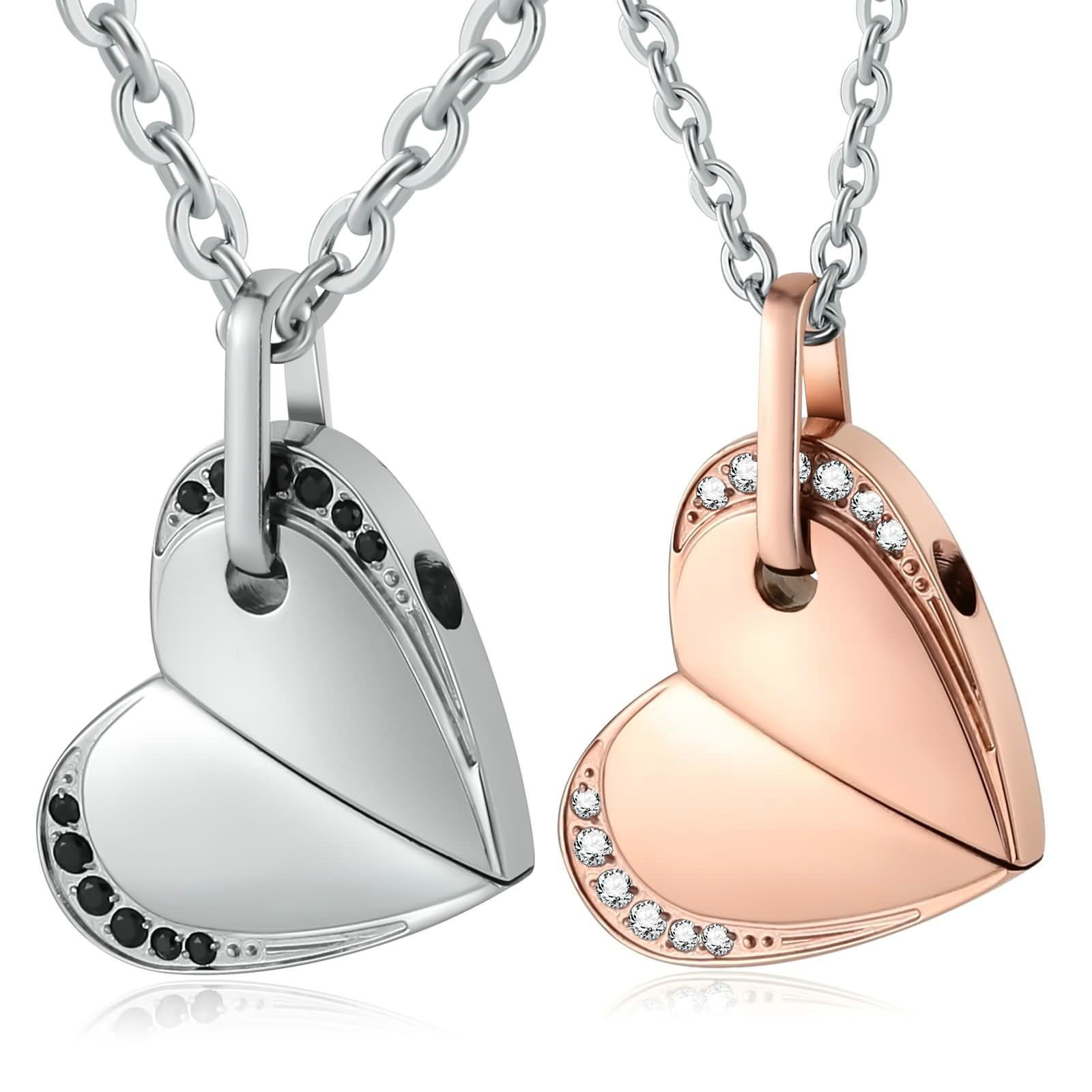 Aienid Stainless Steel Necklace for Couple Heart Move for You Rotatable Heart Pendant Necklace