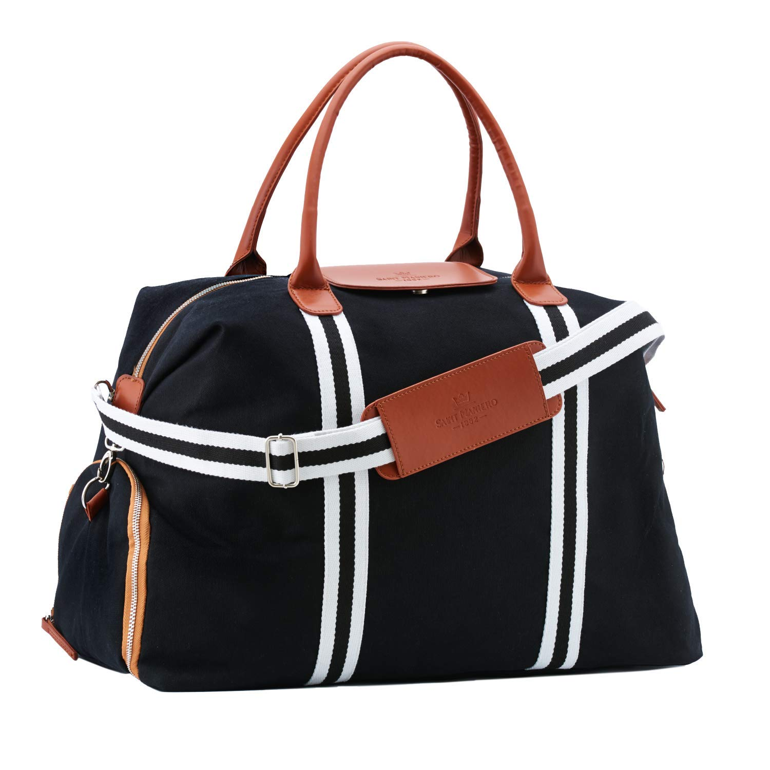 d3fb44fb6756 Saint Maniero Stylish Canvas Tote Travel Bag Carry on Overnight Bag Big Gym  Bag Leather Bag Large Duffle Bag Weekend Bag Big Tote Hand Luggage Bag  Travel ...