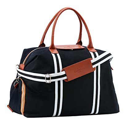 b07886f135fb Saint Maniero Stylish Canvas Tote Travel Bag Carry on Overnight Bag Big Gym  Bag Leather Bag