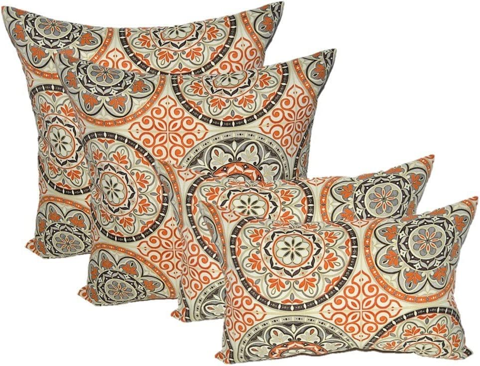 Resort Spa Home Set of 4 Indoor Outdoor Pillows – 17 Square Throw Pillows Rectangle Lumbar Decorative Throw Pillows – Wheel Poppy – Orange, Brown, Ivory, Grey Large Sundial