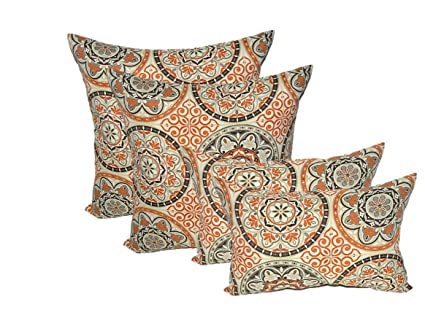 Amazon Set Of 40 Indoor Outdoor Pillows 40 Square Throw Inspiration Gray And Orange Decorative Pillows