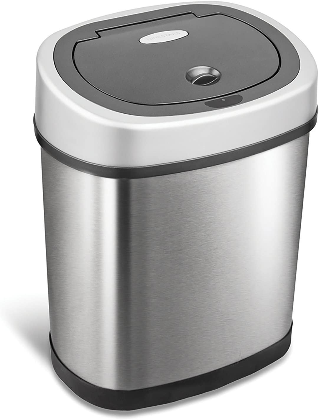 Ninestars Dzt 12 9 Automatic Touchless Infrared Motion Sensor Trash Can 3 Gal 12 L Stainless Steel Oval Silver Black Lid Amazon Ca Home Kitchen