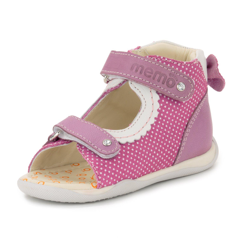 Memo Mini 1JE Baby Girl' First Walker Orthopedic Leather Anti-Slip Sandal, 19 (4 Toddler) by Memo (Image #1)