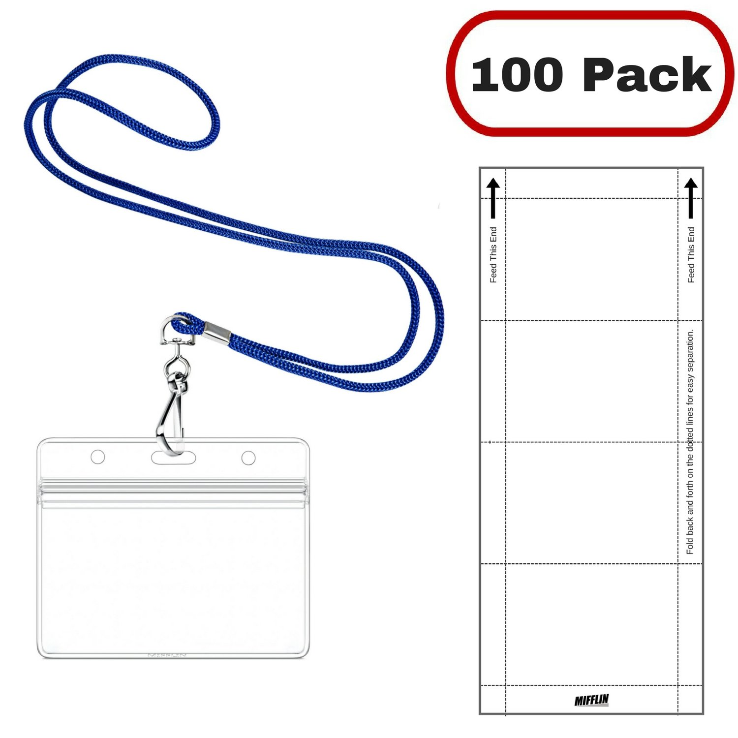 Mifflin Horizontal Name Badge Holders Lanyards And Paper Inserts Piece Kits Royal Blue Pack Office Products