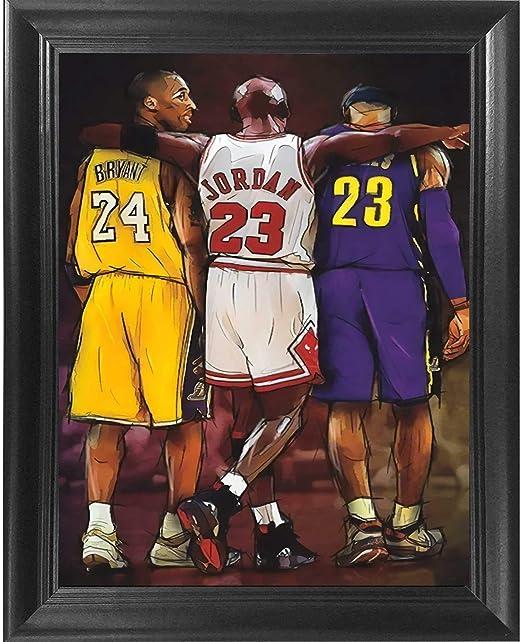 Amazon Com Nba Legends Kobe Bryant Lebron James Michael Jordan Poster Wall Art Decor Framed Print 18x24 Premium Canvas Painting Like Textured Posters Basketball Memorabilia Gift For Guys Girls Bedroom