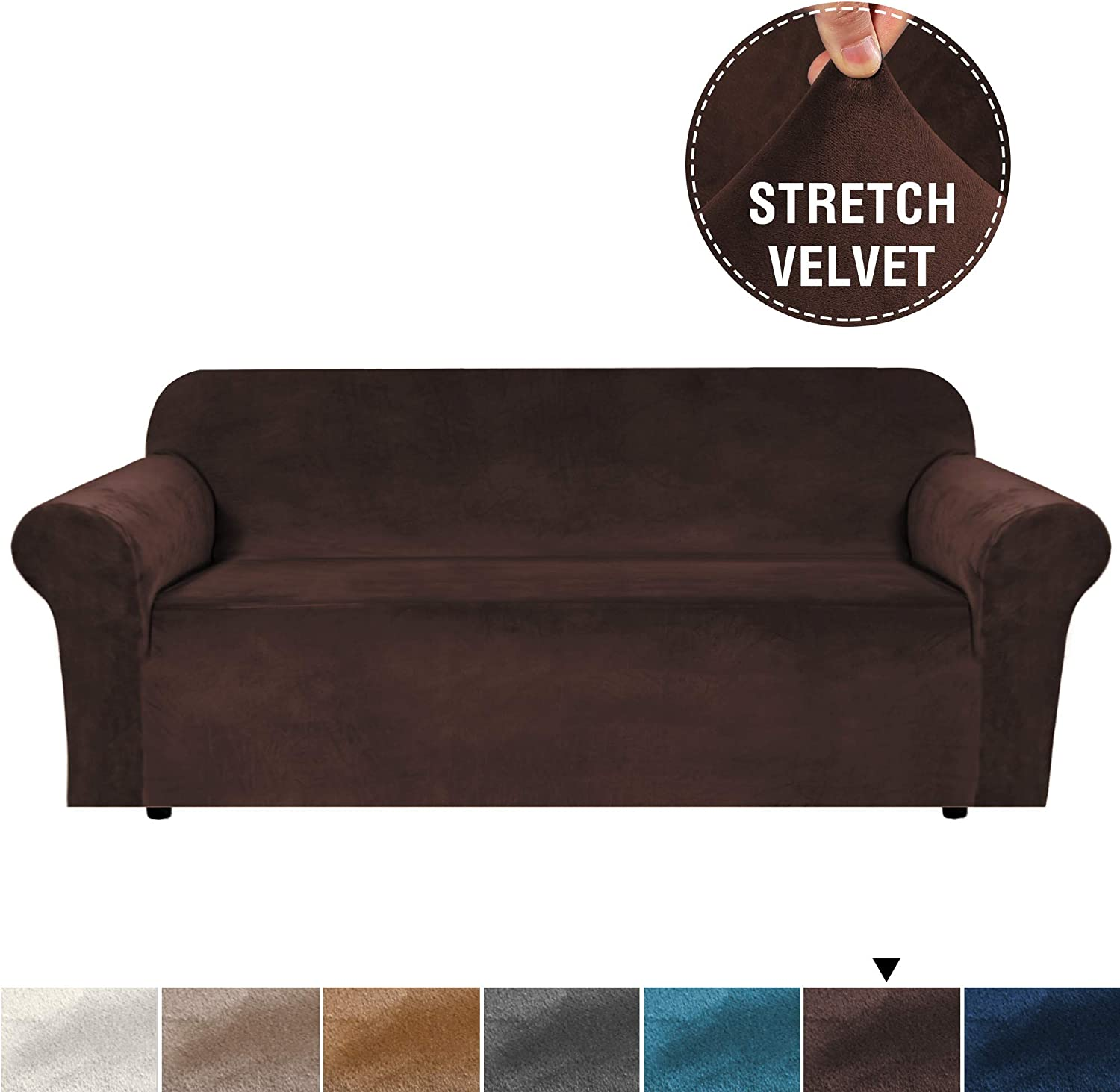 H.VERSAILTEX Real Super Velvet Plush Sofa Cover/Slipcover with Extra 2 Straps (1 Piece Style) Rich Velvet High Stretch Slip Resistant Stylish Furniture Cover Couch Covers for 3 Seat (Sofa, Brown)