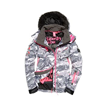 ba29c100ca23c Superdry Women's Ski Jacket Ultimate Snow Service Camo Grey, hellgrau, ...
