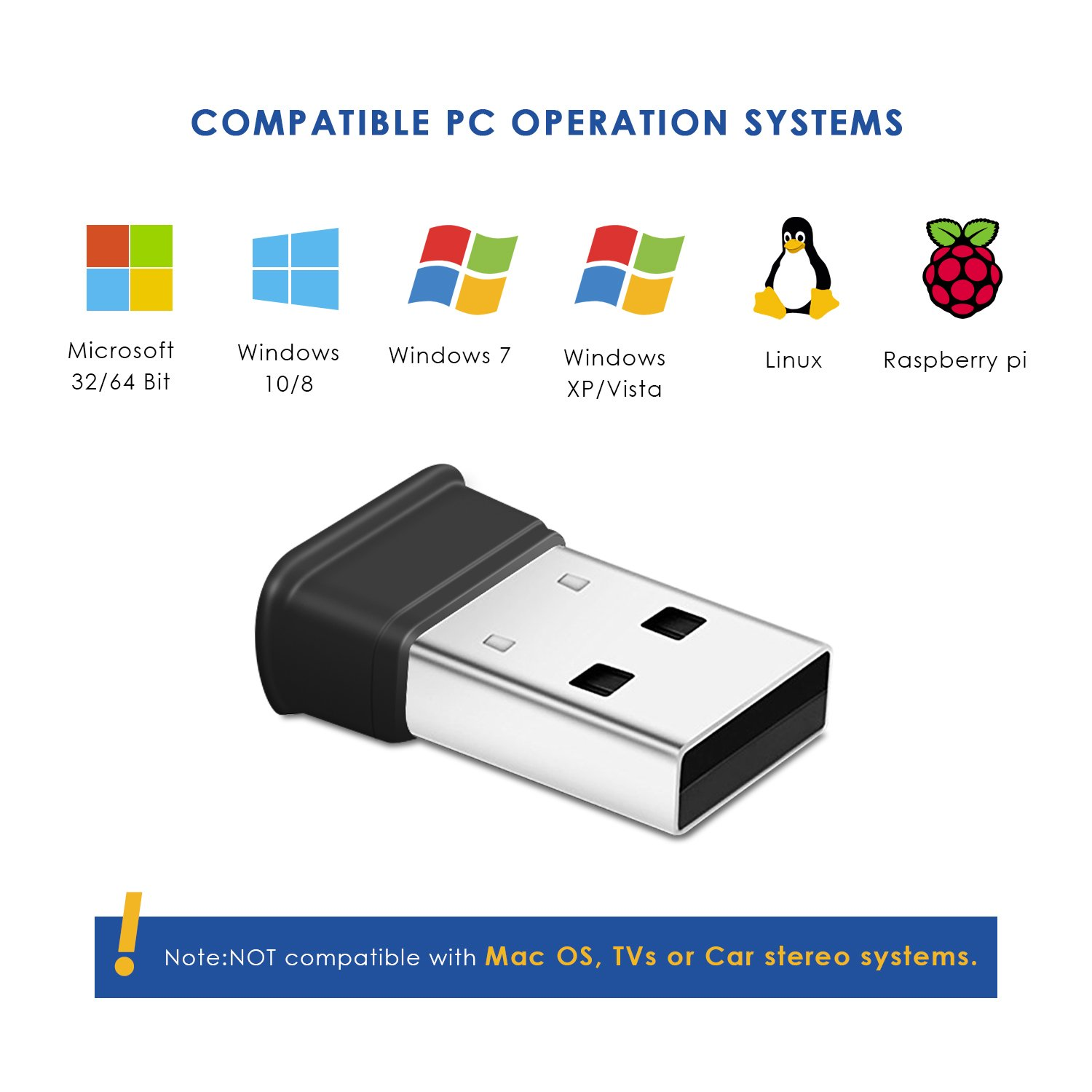 Bluetooth USB Adapter, Bluetooth 4.0 USB Dongle, Low Energy for PC, Wireless Bluetooth Dongle for PC Laptop Desktop Computer, Compatible with Windows 10, 8.1, 8, 7, Vista, XP, Linux and Raspberry PI by HIGHEVER (Image #1)