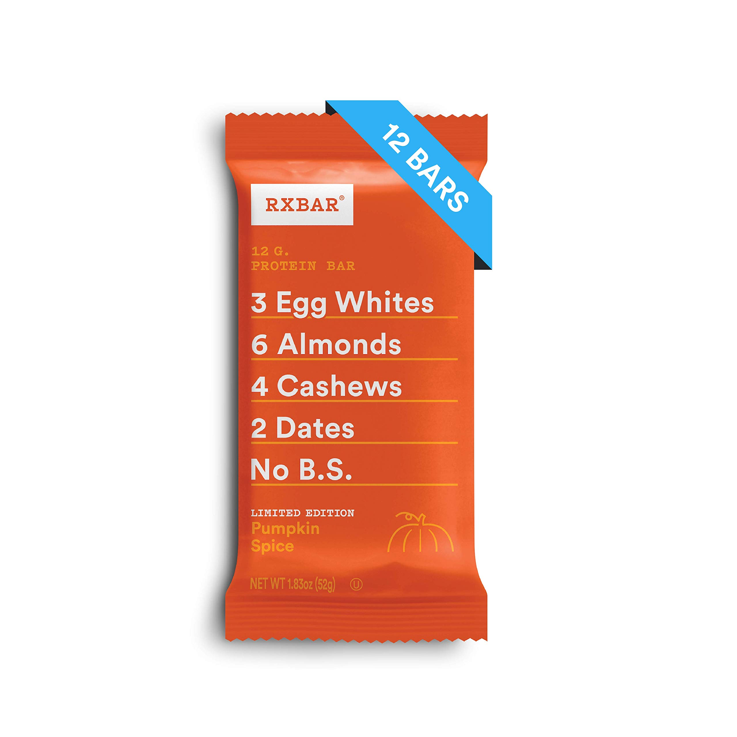 RXBAR, Pumpkin Spice, Protein Bar, Breakfast Bar, High Protein Snack, 1.83 Ounce, Pack of 12 by RXBAR