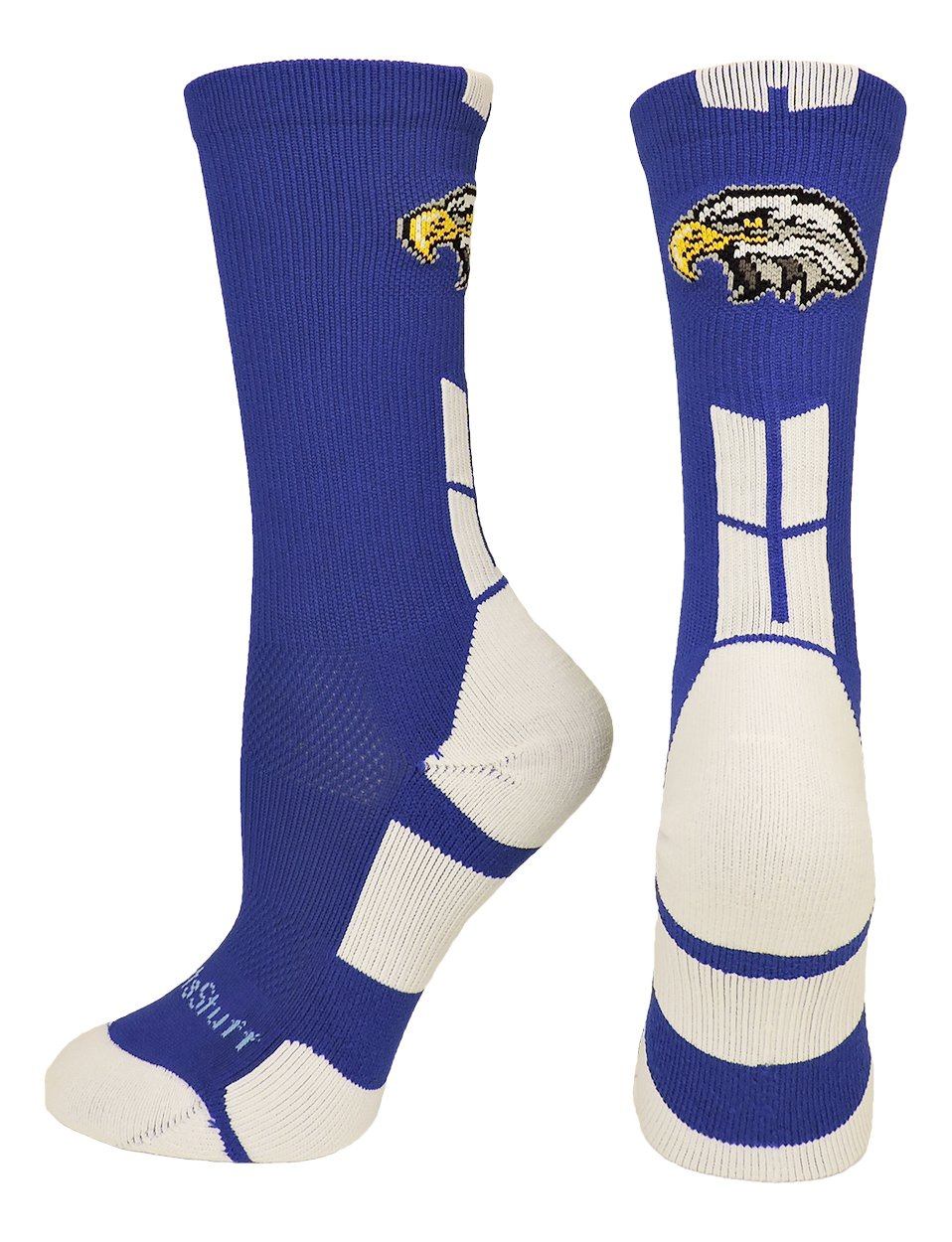 MadSportsStuff Eagles Logo Athletic Crew Socks (Royal/White, Large)