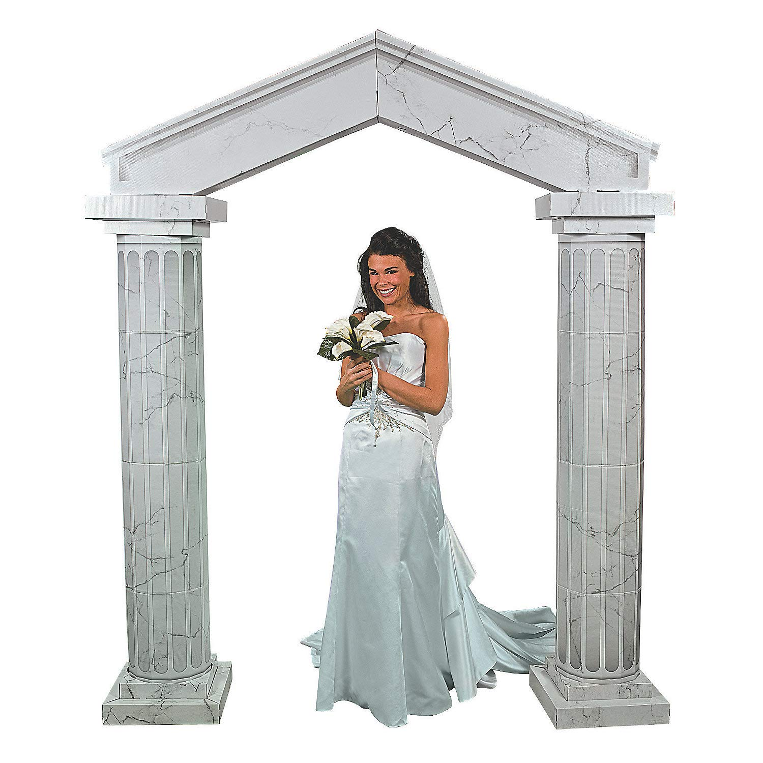 Fun Express Marble-Look Fluted Cardboard Arch Way Kit - Large Party Decor - Wedding, Prom, Formal Dances - 3D Stand Ups - (2) 6ft Columns with Arch Included