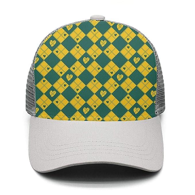 6fe1cff3ec3 Men Women Full Print Mesh Hiphop Hat Adjustable Diamond Chessboard Yellow