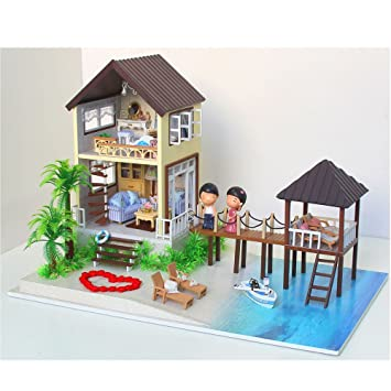 Amazon Com Asidiy Wooden Dollhouse Miniature Diy House Kit With
