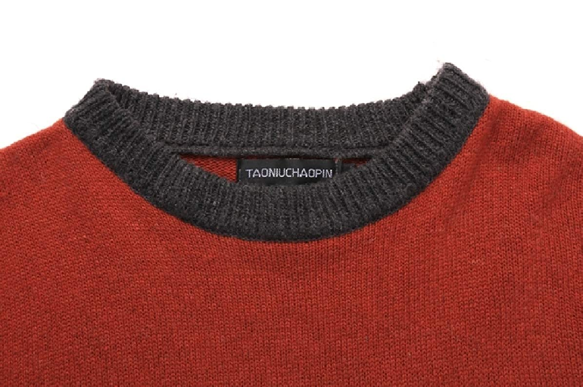 Zimaes-Men Striped Relaxed-Fit Spell Color Crew-Neck Sweater Pullover