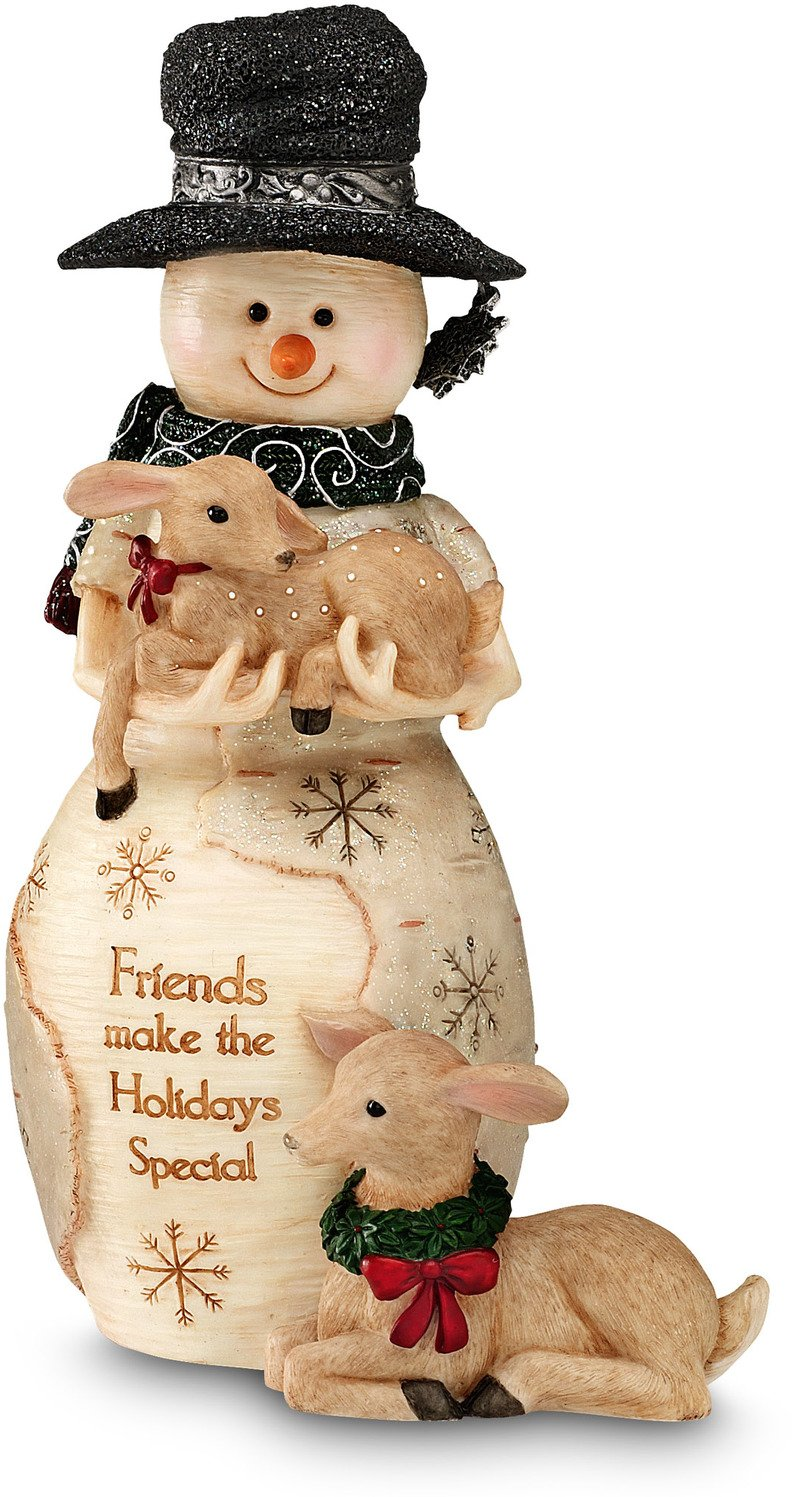 BirchHeart 6.25-Inch Tall Snowman Holding Fawn, Reads ''Friends Make the Holidays Special'' by Pavilion Gift Company