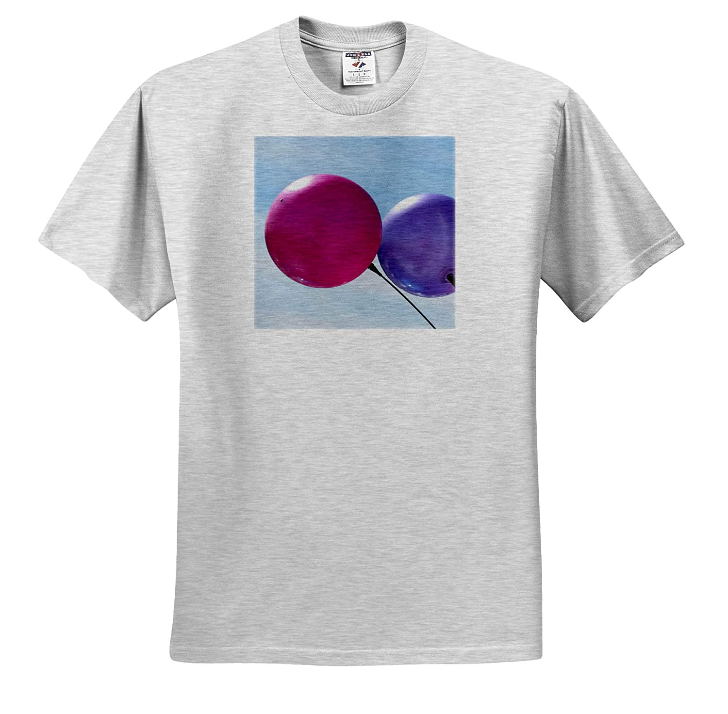 3dRose Jos Fauxtographee- Balloons ts/_319609 A Pink and Purple Balloon on a Pale Blue Sky Adult T-Shirt XL