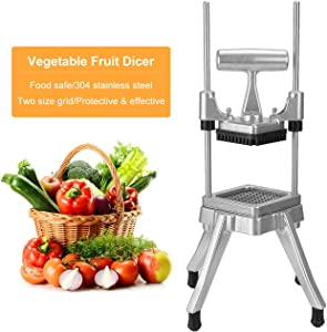 WICHEMI Commercial Chopper Dicer Vegetable Fruit Chopper Dicer Cutter Heavy Duty Stainless Steel Chopper for Onion Peppers Potatoes Mushrooms French Fry (3/8